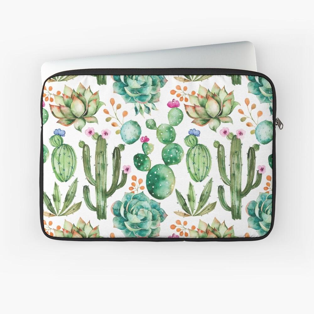 Watercolor Cactus Pattern Laptop Sleeve