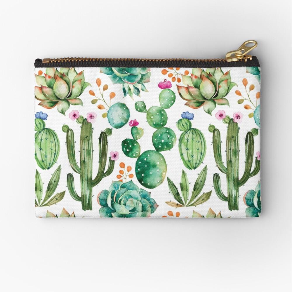Watercolor Cactus Pattern Zipper Pouch
