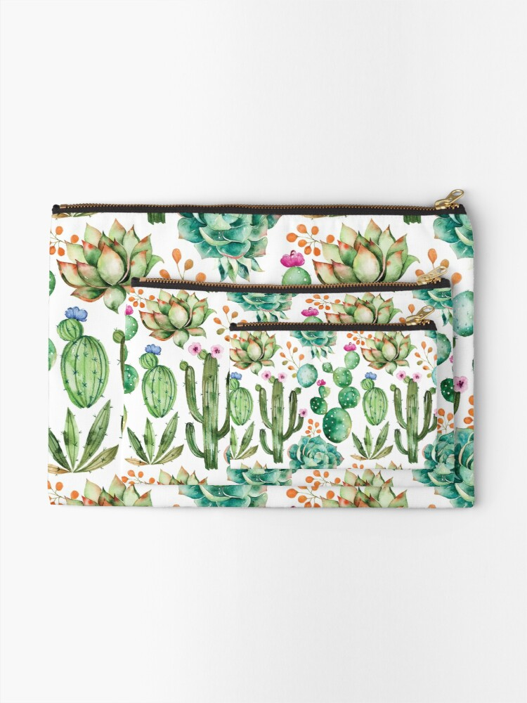 Alternate view of Watercolor Cactus Pattern Zipper Pouch