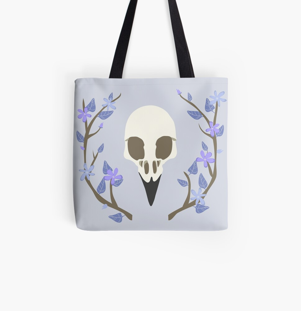 Bird Skull All Over Print Tote Bag