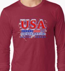 USA 2018 Winter Games US South Korea Sports T-shirt Long Sleeve T-Shirt