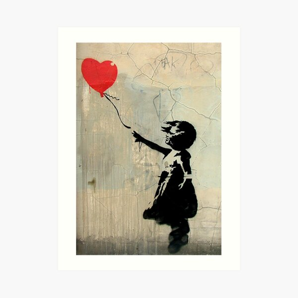 Banksy Red Heart Balloon Art Print