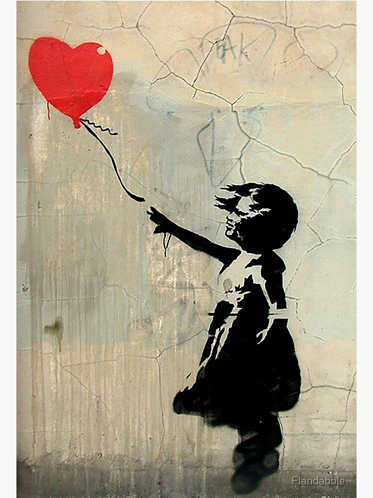 Banksy Red Heart Balloon by Flandabble