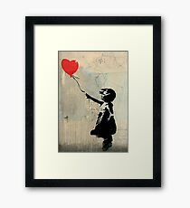Banksy Red Heart Balloon Framed Print