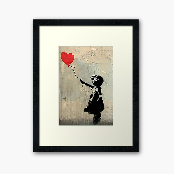 Banksy Red Heart Balloon Framed Art Print