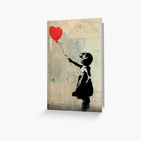 Banksy Red Heart Balloon Greeting Card