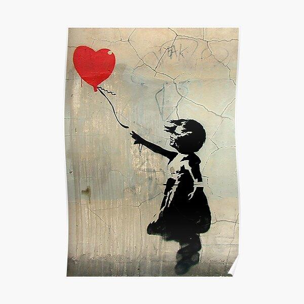 Ballon de coeur rouge de Banksy Poster