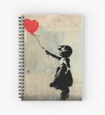 Banksy Red Heart Balloon Spiral Notebook