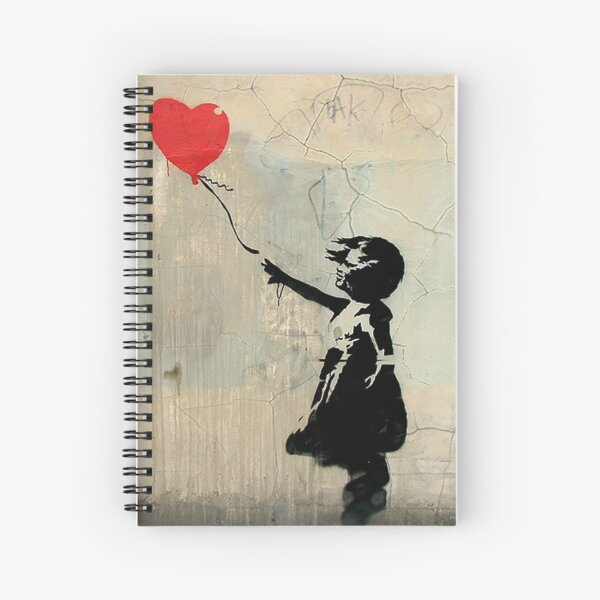 Banksy Red Heart Balloon Spiral Notebook