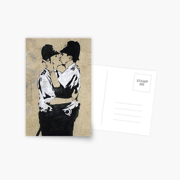 Banksy Kissing Police Postcard