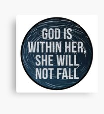 God is within her, she will not fall - Psalm 46:5 - stamped night sky Canvas Print