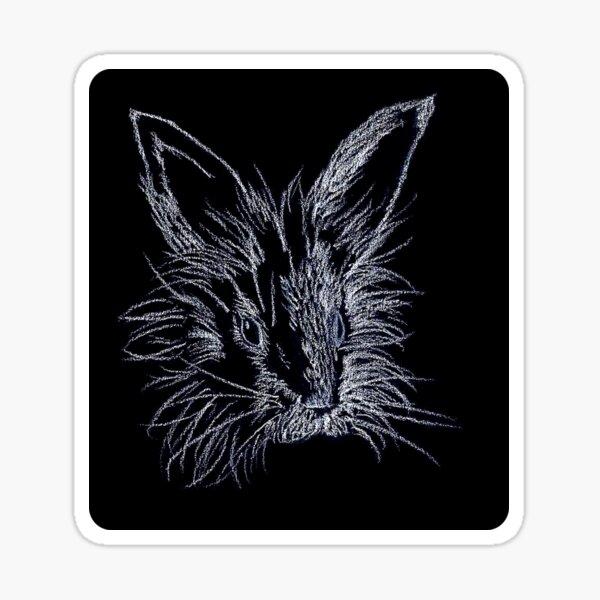 White on Black Lionhead Rabbit Portrait Sticker