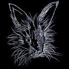 White on Black Lionhead Rabbit Portrait by Brandy Sinclair
