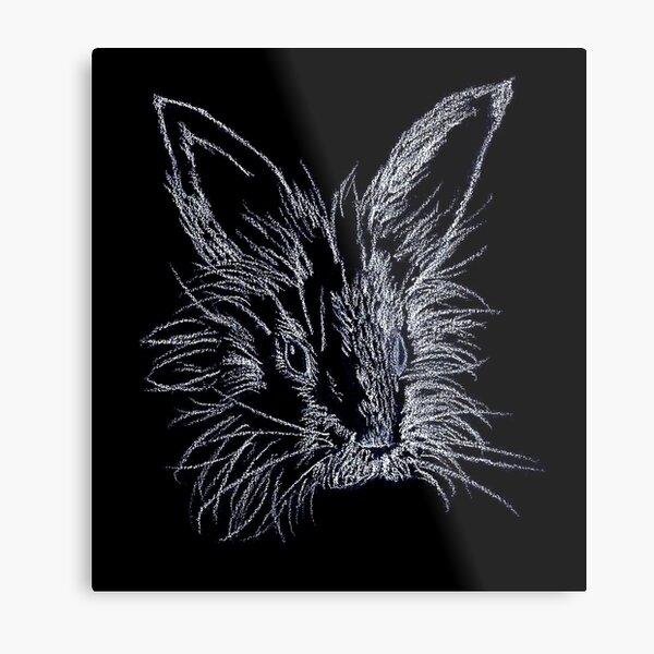 White on Black Lionhead Rabbit Portrait Metal Print