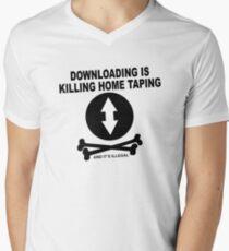Downloading is killing home taping Men's V-Neck T-Shirt