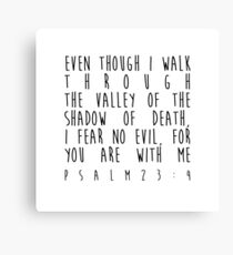 Even though I walk through the valley of the shadow of death, I fear no evil, for You are with me - Psalm 23:4 Canvas Print