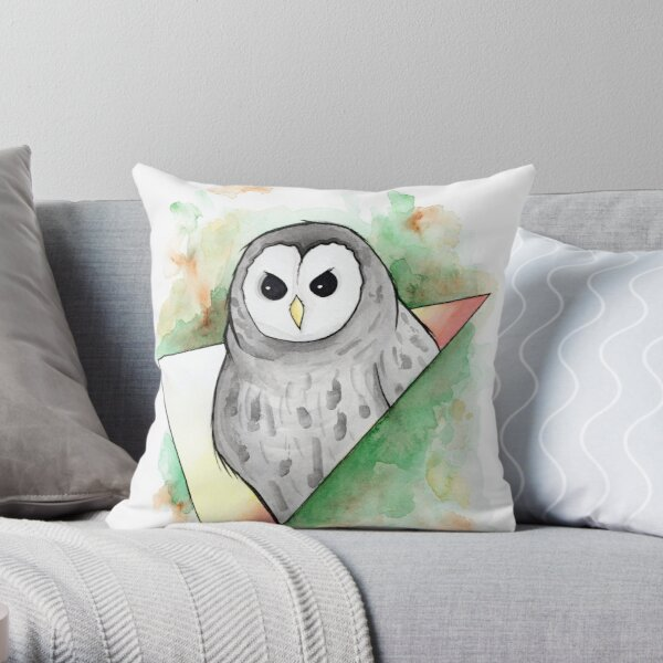 Watercolour Barred Owl Illustration Throw Pillow