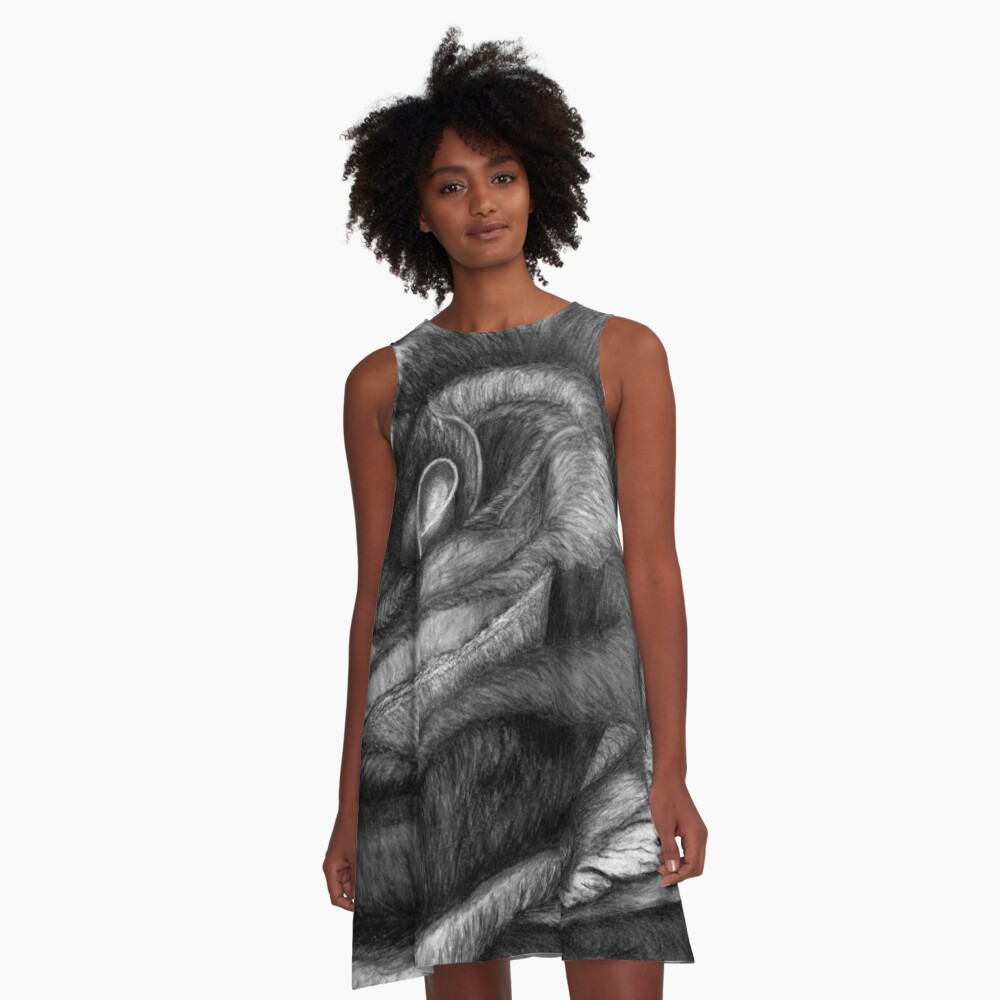 In Contrast to Color (B &W Rainbow Roses) A-Line Dress Front