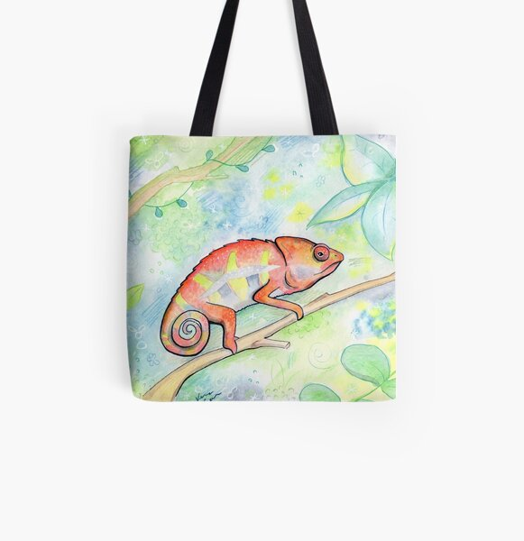 Cutie Chameleon All Over Print Tote Bag