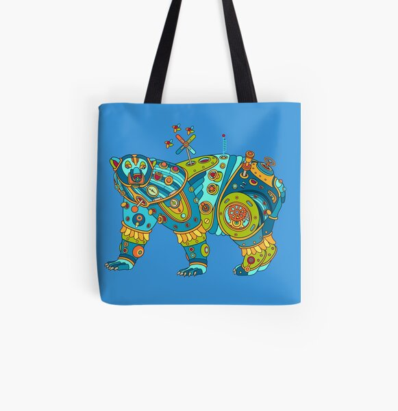 Polar Bear, cool art from the AlphaPod Collection All Over Print Tote Bag