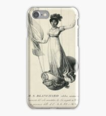 Portrait of French balloonist Sophie Blanchard standing in the decorated basket of her balloon during her flight in Milan, Italy, in 1811 iPhone Case/Skin
