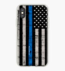 Police blue line Flag iPhone Case