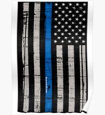 Police blue line Flag Poster