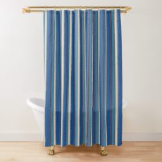 Blue Vertical Stripes Retro Pattern Shower Curtain