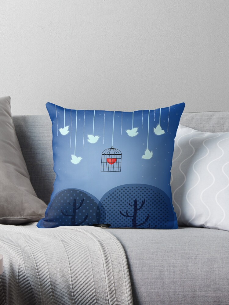 Illustrated Cushion  by Voila and Black Ribbon