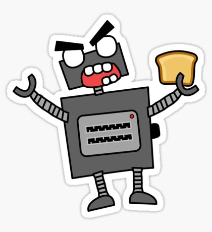 angry zombie robot toaster Sticker