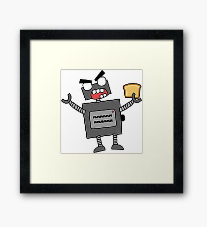 angry zombie robot toaster Framed Print