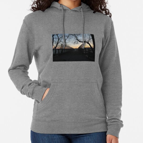 Evening, sunset, evening dawn, footbridge, tree branches, sky Lightweight Hoodie