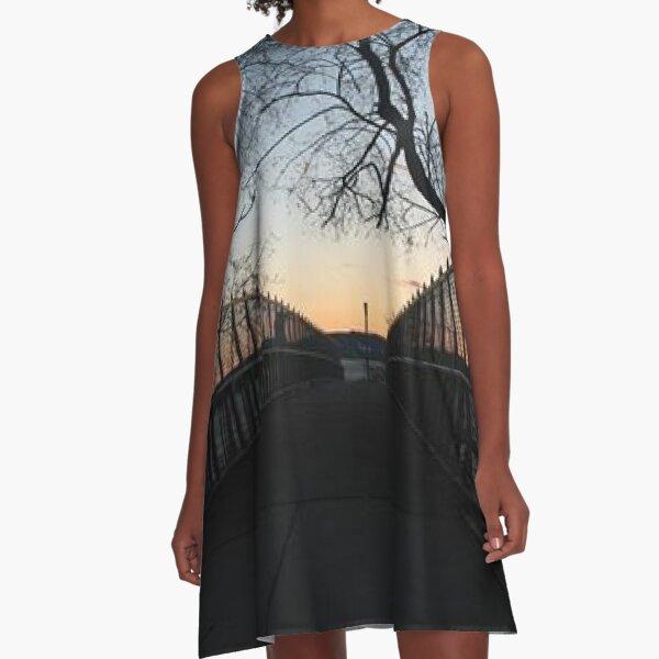 Evening, sunset, evening dawn, footbridge, tree branches, sky A-Line Dress