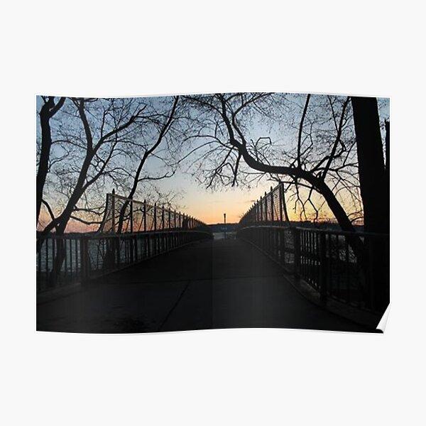 Evening, sunset, evening dawn, footbridge, tree branches, sky Poster