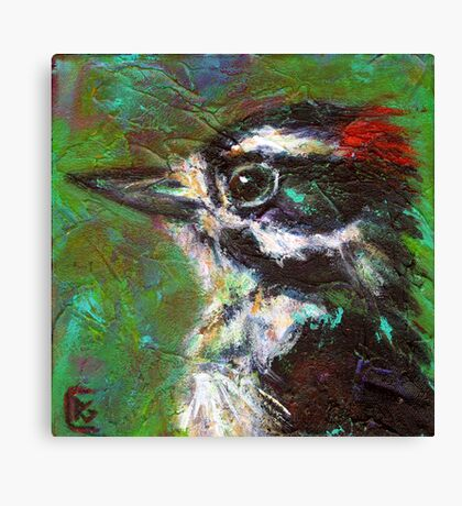 Reasons to Be Cheerful: Downy Woodpeckers Canvas Print