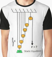 Physics problem. Statics. Find the force acting on the free end of the rope, which keeps the system of pulleys, ropes and the load  in balance Graphic T-Shirt