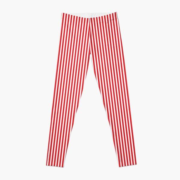 THINNER RED WHITE VERTICAL STRIPE Leggings