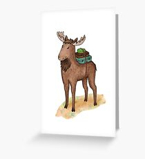 Elk with suitcases Greeting Card