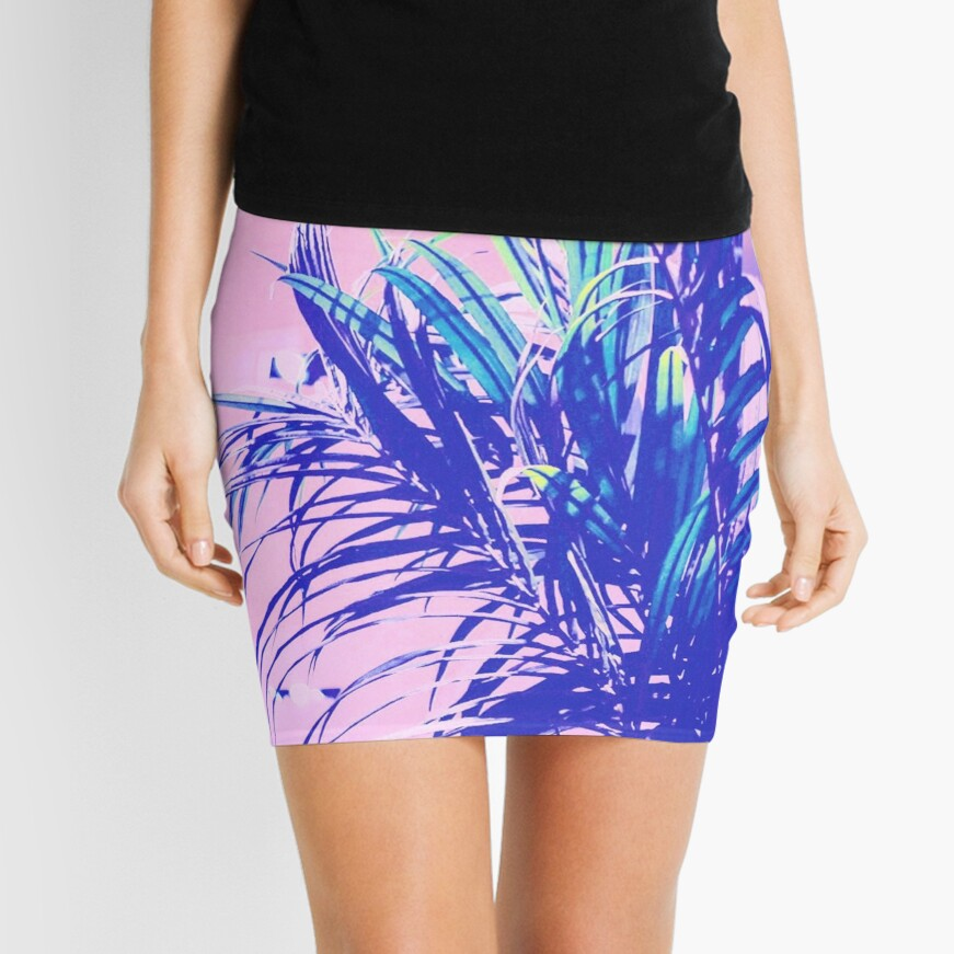 neon tropics indoor plants 90s nostalgic photography Mini Skirt Front