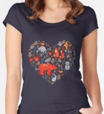 Fairy-tale forest. Fox, bear, raccoon, owls, rabbits, flowers and herbs on a blue background. Women's Fitted Scoop T-Shirt