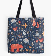 Fairy-tale forest. Fox, bear, raccoon, owls, rabbits, flowers and herbs on a blue background. Tote Bag