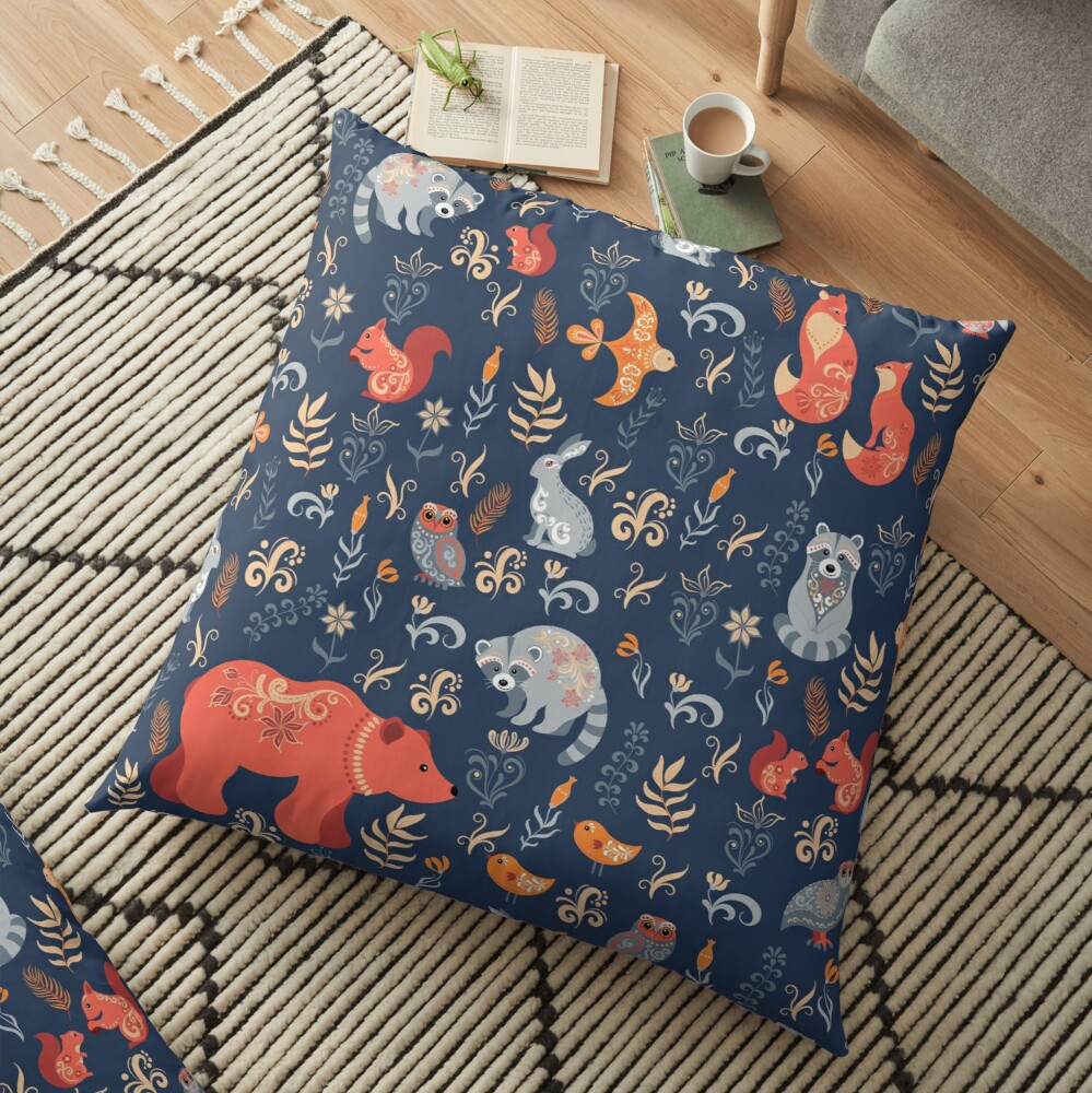 Fairy-tale forest. Fox, bear, raccoon, owls, rabbits, flowers and herbs on a blue background. Floor Pillow