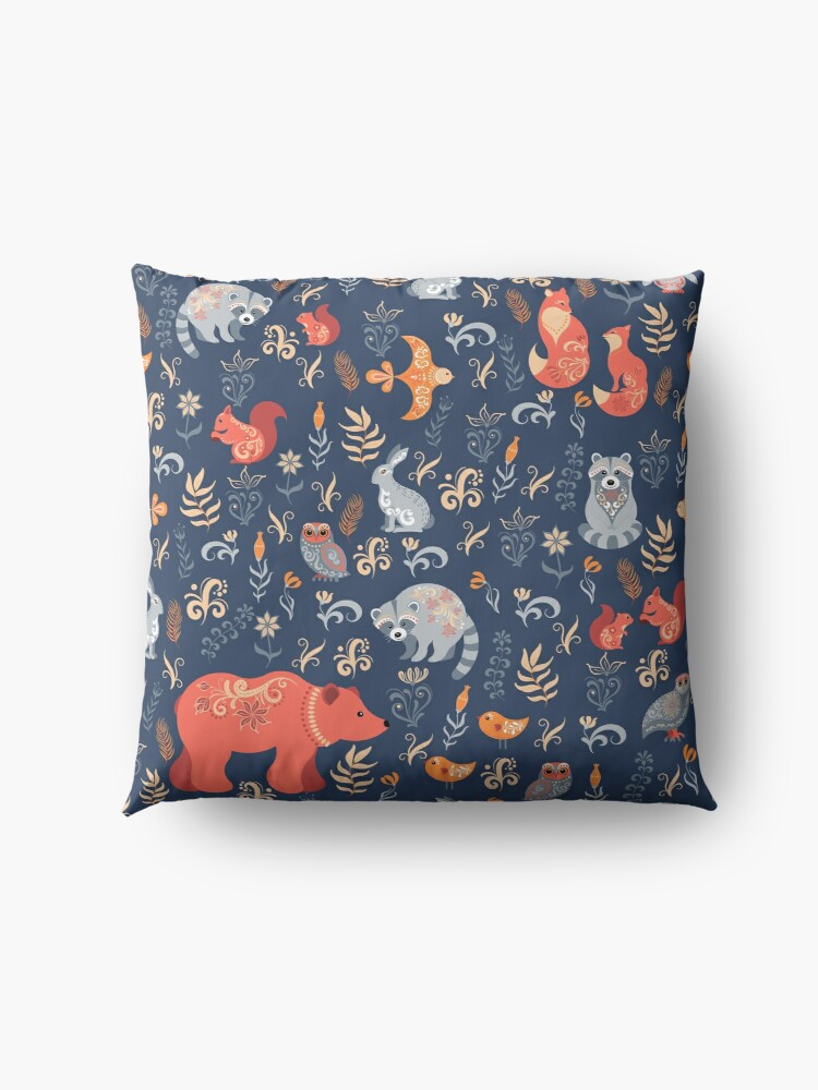 Alternate view of Fairy-tale forest. Fox, bear, raccoon, owls, rabbits, flowers and herbs on a blue background. Floor Pillow