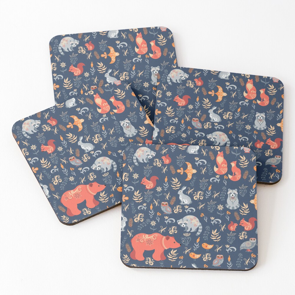 Fairy-tale forest. Fox, bear, raccoon, owls, rabbits, flowers and herbs on a blue background. Coasters (Set of 4)