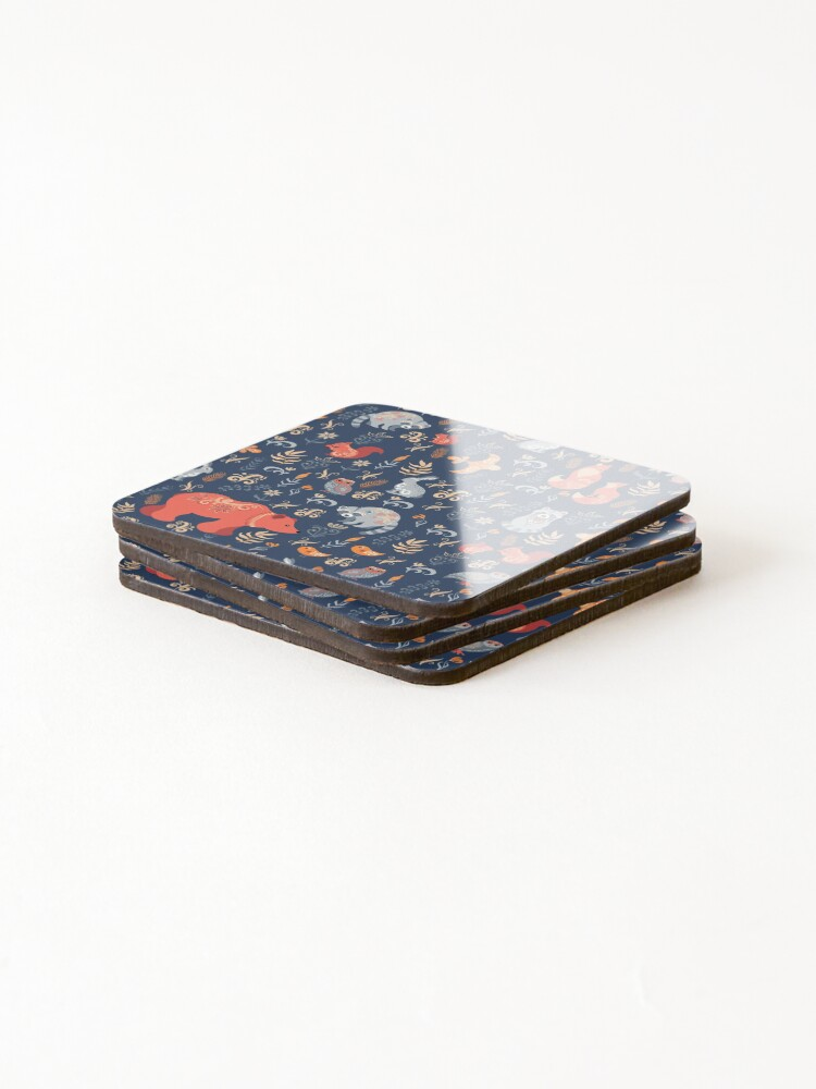 Alternate view of Fairy-tale forest. Fox, bear, raccoon, owls, rabbits, flowers and herbs on a blue background. Coasters (Set of 4)