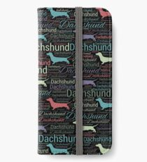 Dachshund silhouette and word art pattern iPhone Wallet/Case/Skin