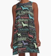 Dachshund silhouette and word art pattern A-Line Dress