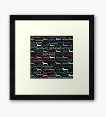 Dachshund silhouette and word art pattern Framed Print