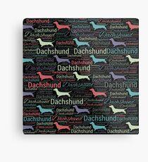 Dachshund silhouette and word art pattern Metal Print
