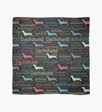 Dachshund silhouette and word art pattern Scarf